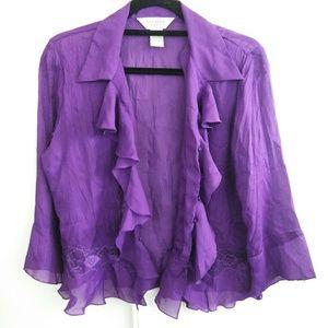 Allison Taylor Tops - Allison Taylor Purple Ruffle Blouse